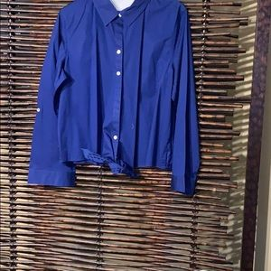 Chico's navy tie up blouse nwot size large